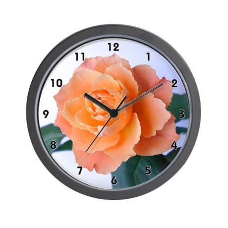 Apricot Orange Rose Bud Clocks Wall Clock