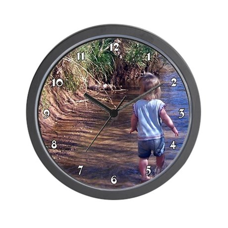 Girl Child Wading in River Water Clocks Wall Clock
