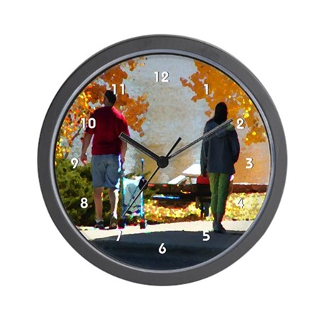 Family Autumn Lake Stroll Clocks Wall Clock