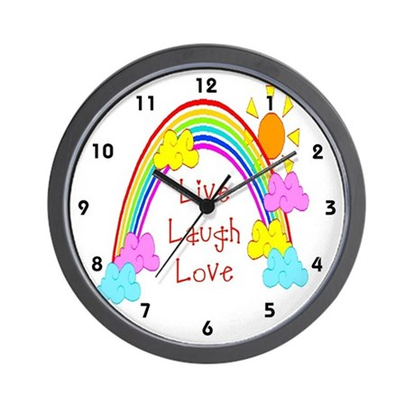 Kids Live, Laugh, Love Rainbow Clocks Wall Clock