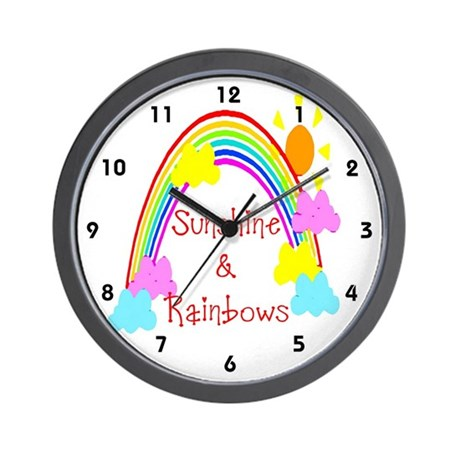 Kids Sunshine and Rainbows Clocks Wall Clock