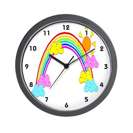 Kid's Rainbow Sunshine Clocks Wall Clock