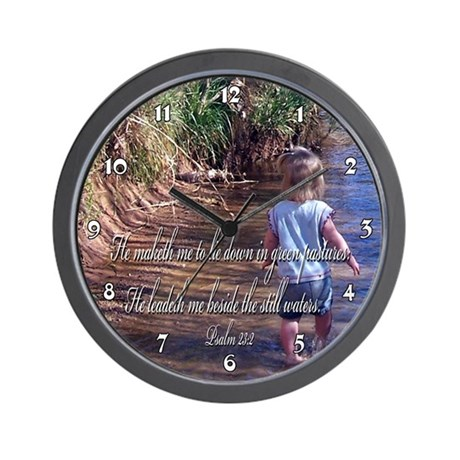 Child Wading in River Psalm Clocks Wall Clock