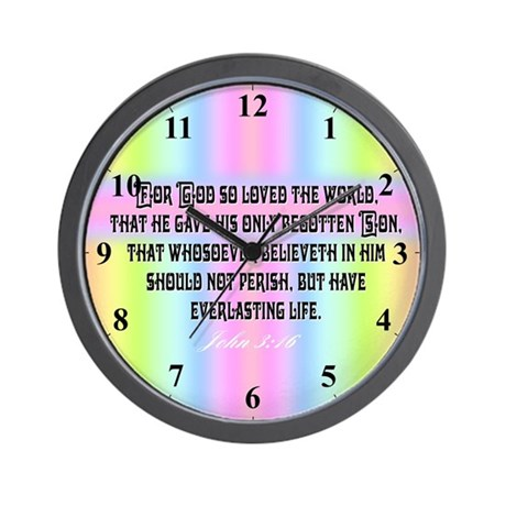Rainbow Cross John 3 16 Clocks Wall Clock