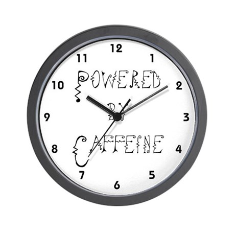 Powered by Caffeine Coffee Clocks Wall Clock