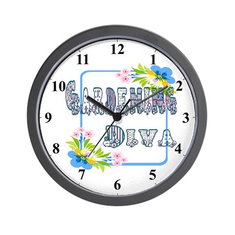 Gardening Diva Floral Garden Clocks Wall Clock