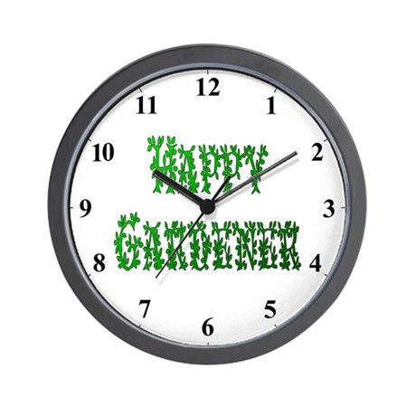 Happy Gardener Leaves Clocks Wall Clock