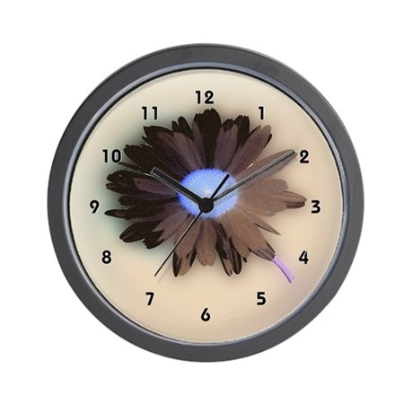 Brown Blue Country Style Daisy Clocks Wall Clock