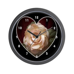Peach Apricot Rose Heart Clocks Wall Clock
