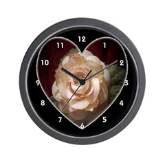 Peach Apricot Rose Heart Clocks Wall Clock