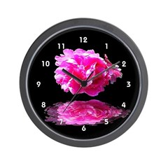 Pink Peony Reflections Clocks Wall Clock