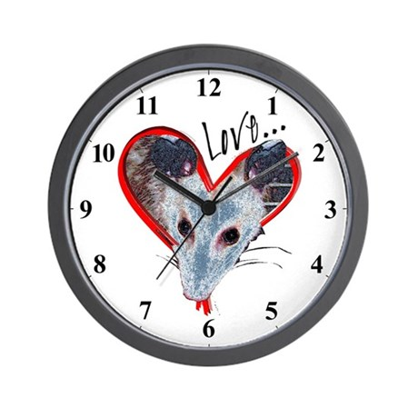 Love Heart Possum Opossum Clocks Wall Clock