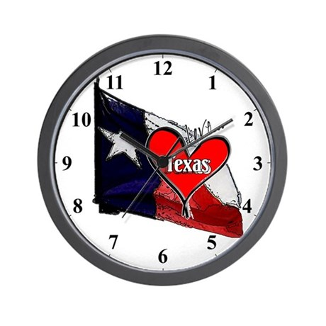 I Love Texas Lonestar Flag Clocks Wall Clock