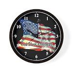 God Bless America USA Flag Clocks Wall Clock