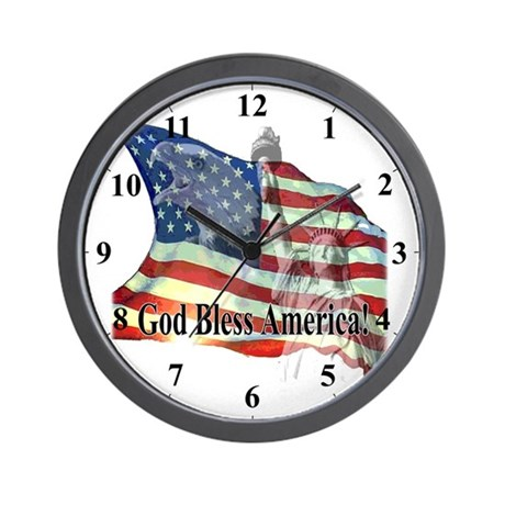 America USA Flag God Bless Clocks Wall Clock