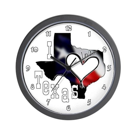 I Love Texas Heart Flag Clocks Wall Clock