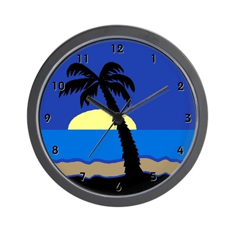 Tropical Island Ocean Palm Sea Clocks Wall Clock