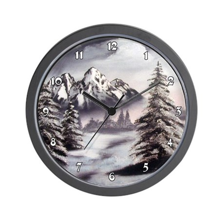 Winter Mountain Trees Snow Scene Clocks Wall Clock
