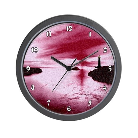 Red Sunset Harbor Lighthouse Clocks Wall Clock