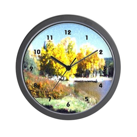 Autumn Trees Mountain Lake Clocks Wall Clock