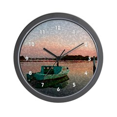 Seascape Harbor Fishing Boat Clocks Wall Clock