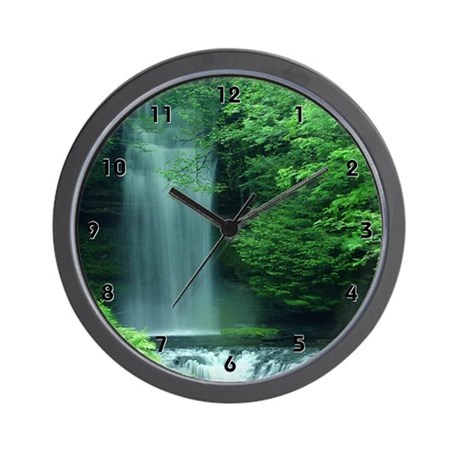 Lush Green Waterfall Clocks Wall Clock