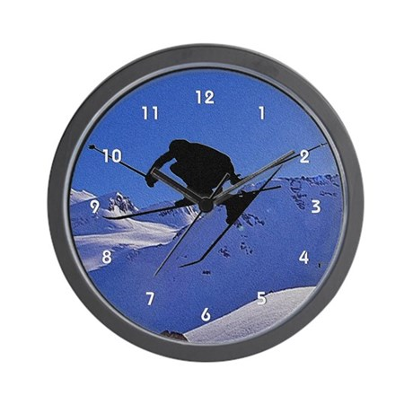 Ski Skier Skiing Silhouette Blue Mountain Snow Wal