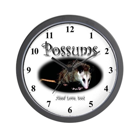 Possums Need Love Too! Opossum Clocks Wall Clock