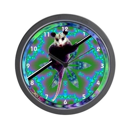 Possum Opossum Kaleidoscope Mandala Wall Clock