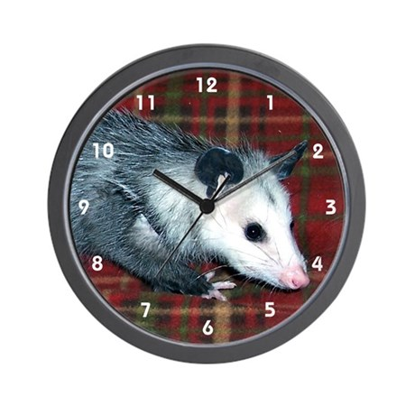 Baby Possum Opossum on Plaid Clocks Wall Clock