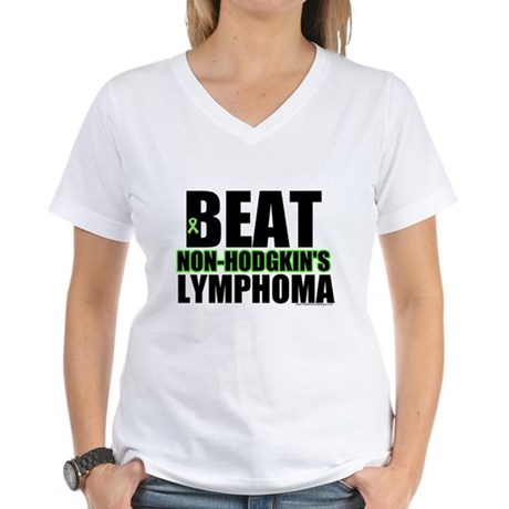Beat Non-Hodgkin's Women's V-Neck T-Shirt