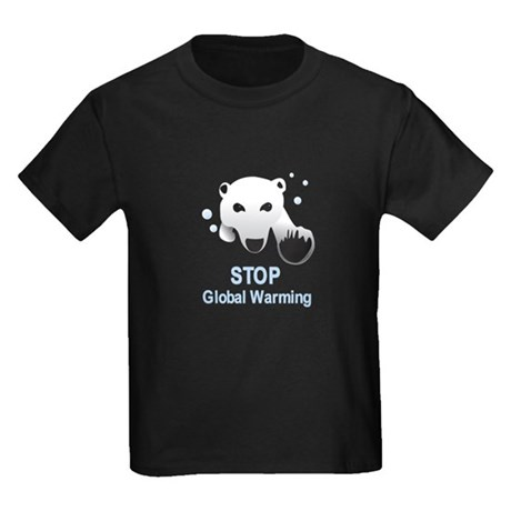 Stop Global Warming Kids Dark T-Shirt