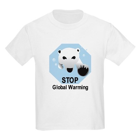 Stop Global Warming Kids Light T-Shirt
