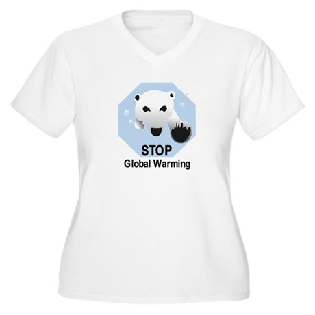 Stop Global Warming Women's Plus Size V-Neck T-Shi