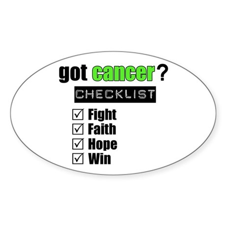 Got Cancer Checklist (Lime) Oval Sticker (10 pk)