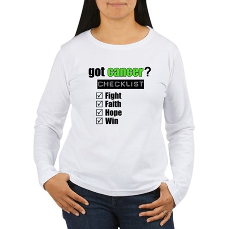 Got Cancer Checklist (Lime) Women's Long Sleeve T-