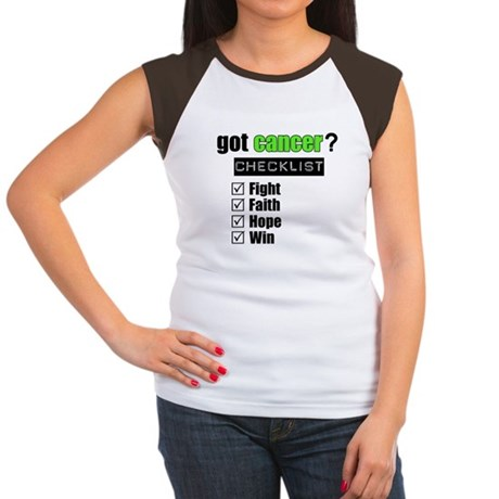 Got Cancer Checklist (Lime) Women's Cap Sleeve T-S