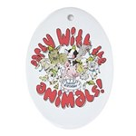 PARTY WITH THE ANIMALS Oval Ornament