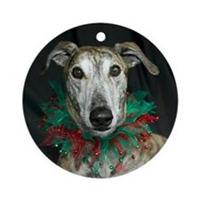 Round OrnamentBrindle Christmas Greyhound
