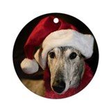 Round OrnamentBrindle Santa Greyhound