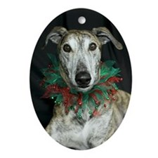 Oval Ornament Brindle Christmas Greyhound