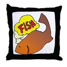 1240 Fishi Thinking Throw Pillow