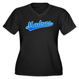 Retro Madras (Blue) Women's Plus Size V-Neck Dark