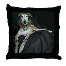 Brindle Christmas Jester Grey Throw Pillow