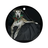 Brindle Christmas Jester Grey Ornament (Round)