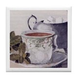 Tea and Mint Leaves Tile Coaster