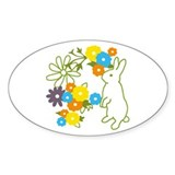 flower bunny Oval Decal