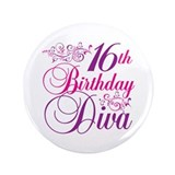 "16th Birthday Diva 3.5"" Button"