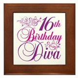 16th Birthday Diva Framed Tile
