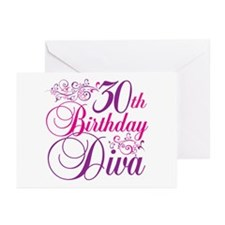 30th Birthday Diva Greeting Cards (Pk of 20)